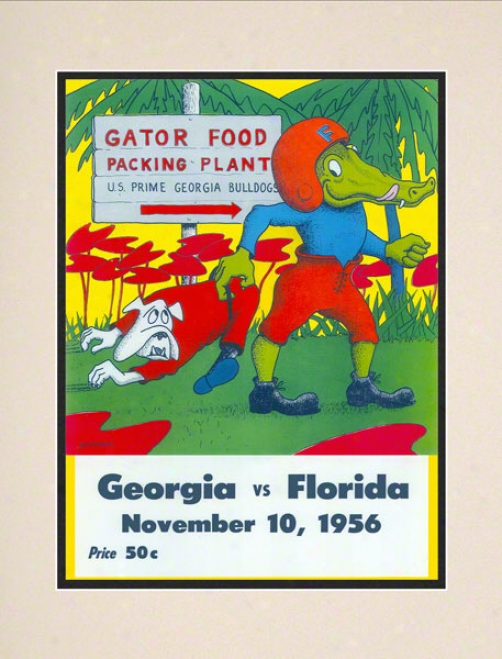 1956 Florida Vs. Georgoa 10.5x14 Matted Historic Football Print