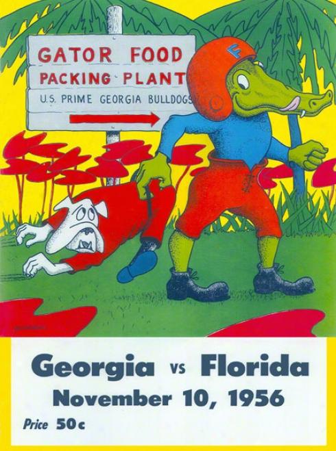 1956 Florida Vs. Georgia 22 X 30 Canvas Historic Football Print