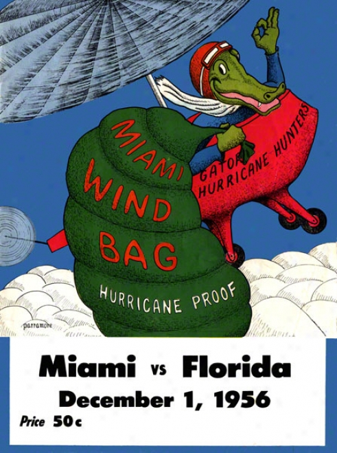 1956 Florida Vs. Miami 36 X 48 Canvas Historic Football Print
