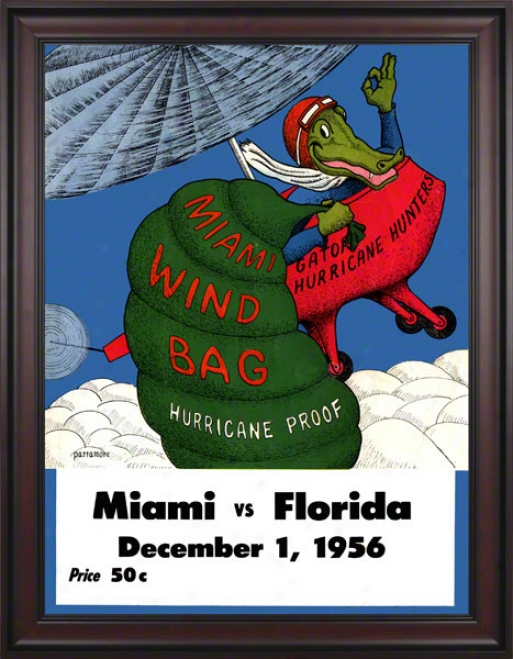 1956 Florida Vs. Miami 36 X 48 Framed Canvas Historic Football Print