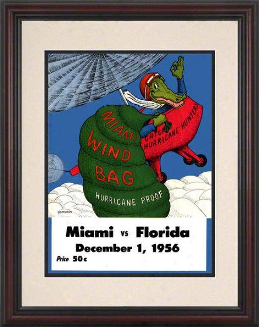 1956 Florida Vs. Miami 8.5 X 11 Framed Historic Football Print