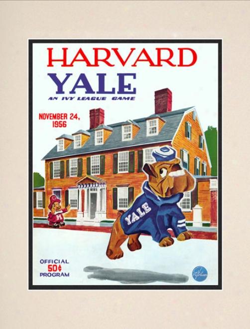 1956 Harvard Crimson Vs. Yale Bulldogs 10.5x14 Matted Historic Football Print