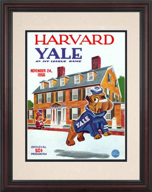 1956 Harvard Crimson Vs. Yale Bulldogs 8.5 X 11 Framed Historic Football Print
