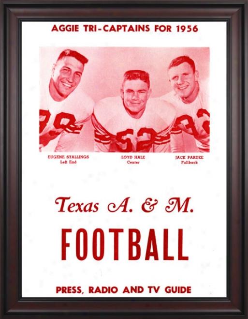 1956 Texas A&m Aggies 36 X 48 Framed Canvas Historic Football Print