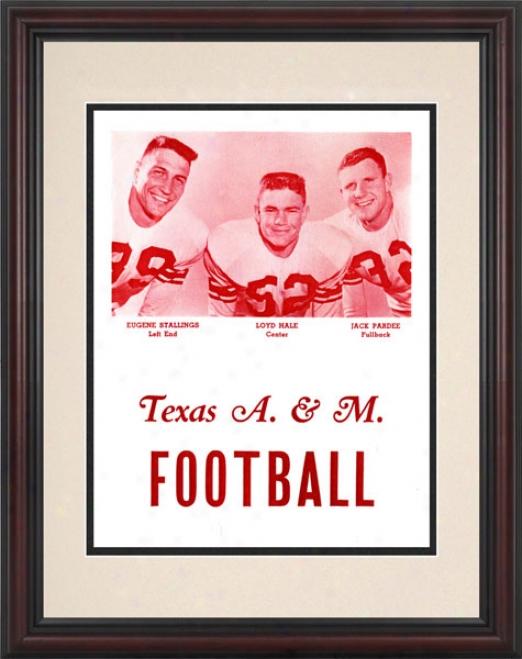 1956 Texas A&m Aggi3s 8.5 X 11 Framed Historic Football Print