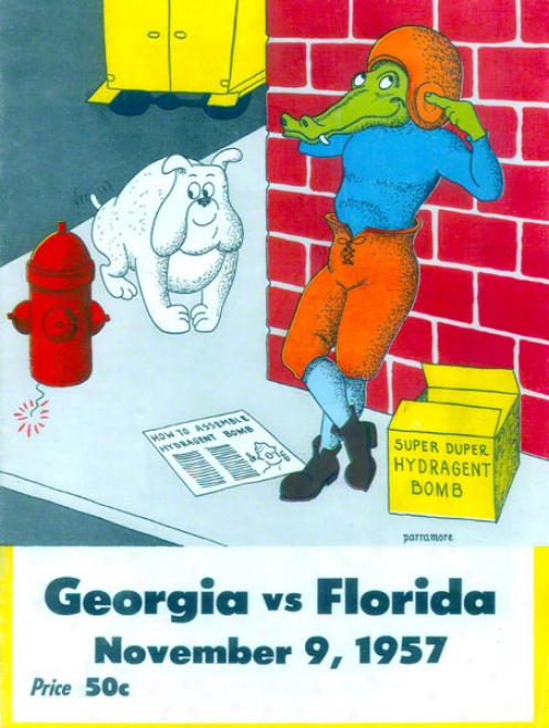 1957 Florida Vs. Georgia 36 X 48 Canvas Historic Football Print