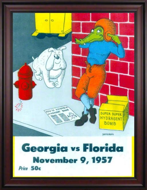 1957 Florida Vs. Georgia 36 X 48 Framed Canvas Historic Football Print