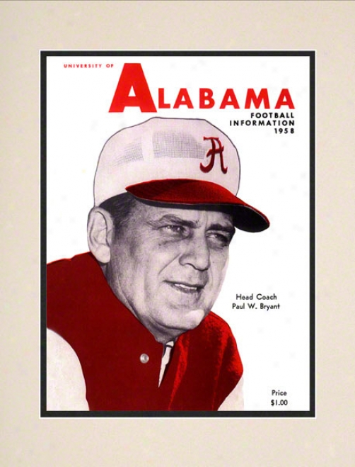 1958 Alabama Presq Guide 10.5x14 Matted Historic Football Print