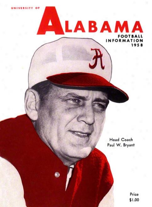 1958 Alabama Press Guide 22 X 30 Canvas Hitoric Football Print