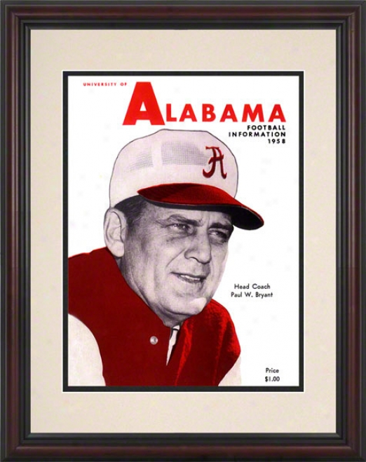 1958 Alabama Press Guide-book 8.5 X 11 Framed Historic Football Print