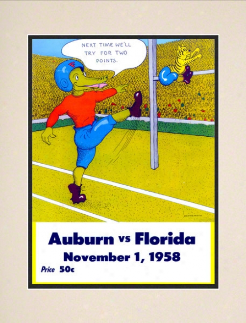 1958 Florida Vs. Auburn 10.5x14 Matted Historic Football Print