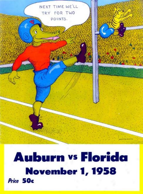 1958 Florida Vs. Auburn 22 X 30 Canvas Historic Football Print
