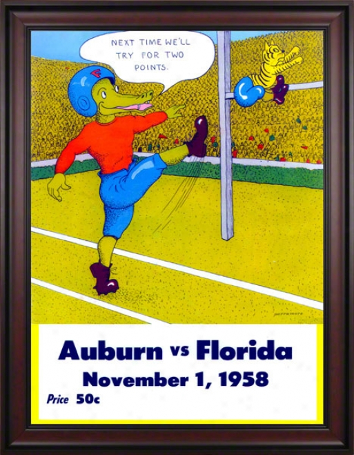 1958 Fllrida Vs. Aubrn 36 X 48 Framed Canvas Historic Football Print