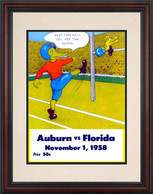 1958 Florida Vs. Auburn 8.5 X 11 Framed Historic Football Print