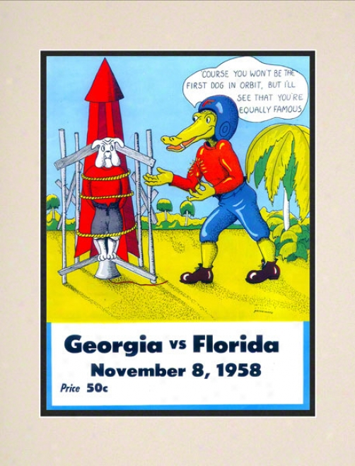 1958 Florida Vs. Georgia 10.5x14 Matted Hisstoric Football Print