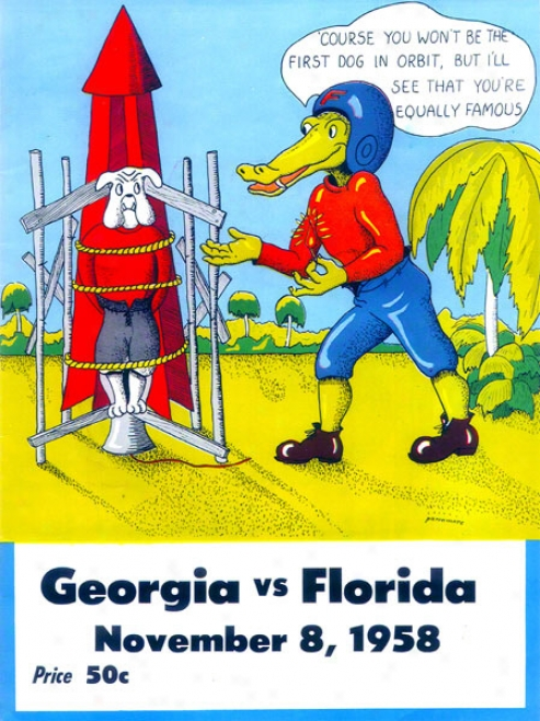 1958 Florida Vs. Georgia 22 X 30 Canvas Historic Football Print