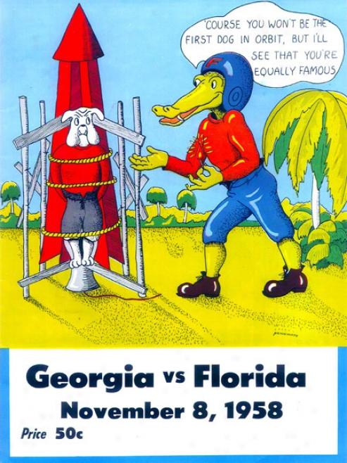 1958 Florida Vs. Georgia 36 X 48 Canvas Historic Football Print