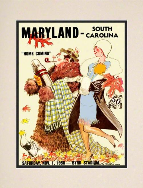 1958 Maryland Vs. South Carolina 10.5x14 Matted Historic Football Print