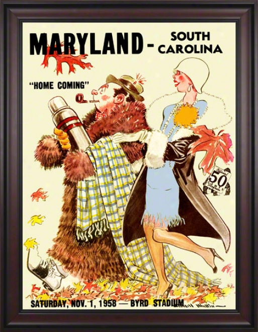1958 Maryland Vs. South Carolina 36 X 48 Framed Canvad Historic Football Print