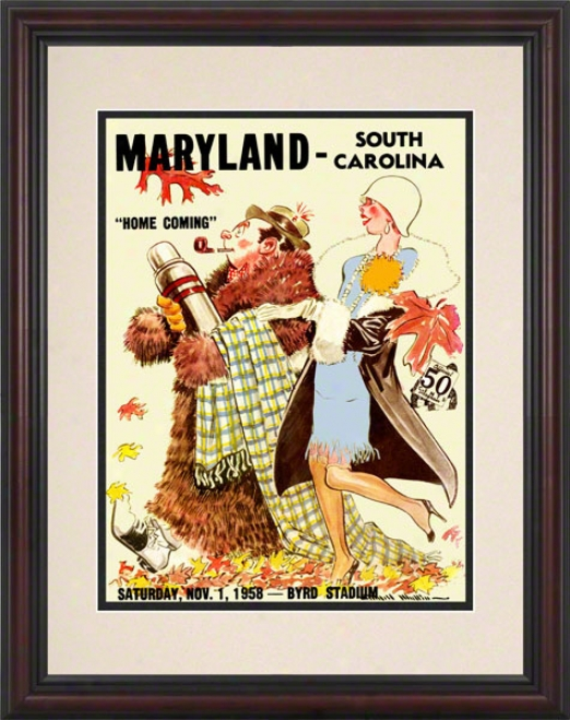 1958 Maryland Vs. South Carolina 8.5 X 11 Framed Historic Football Print