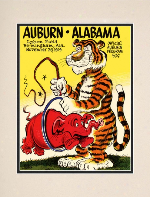1959 Auburn Tigers Vs. Alabama Crimson Tide 10.5x14 Matted Historic Football Print