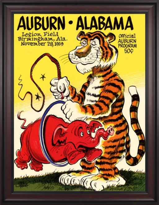 1959 Auburn Tigers Vs. Alabama Crimson Tide 36 X 48 Framed Canvas Historic Football Print