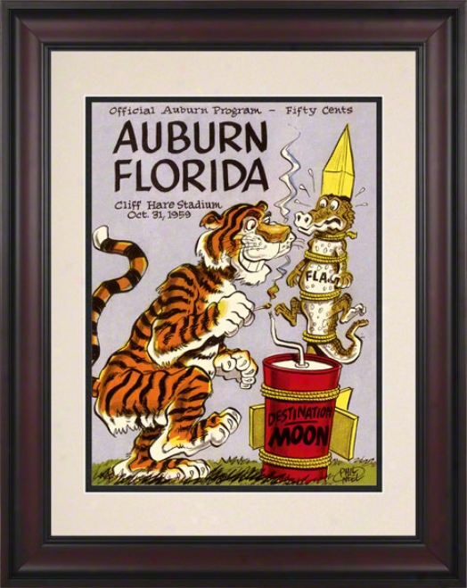 1959 Auburn Vs. Florida 10.5x14 Framed Historic Footballl Print