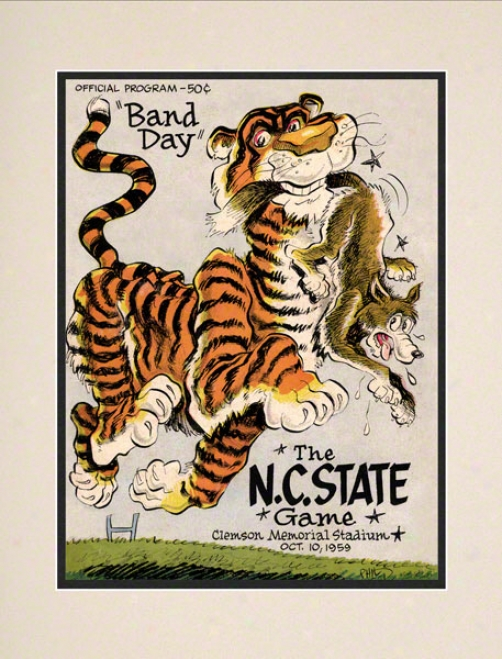 1959 Clemson Vs. North Carolina State 10.5x14 Matted Historic Football Print