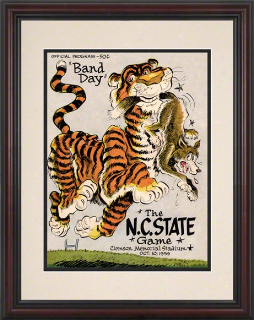 1959 Clemson Vs. North Carolina Commonwealth 8.5 X 11 Framed Historic Foltball Calico