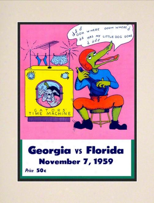 1959 Florida Vs. Georgia 10.5x14 Matted Historic Football Print