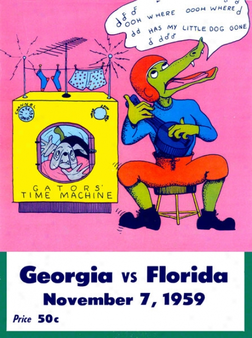 1959 Florida Vs. Georgia 36 X 48 Canvas Historic Football Print