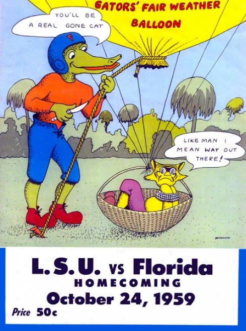 1959 Florida Vs. Lsu 22 X 30 Canvas Historic Football Print