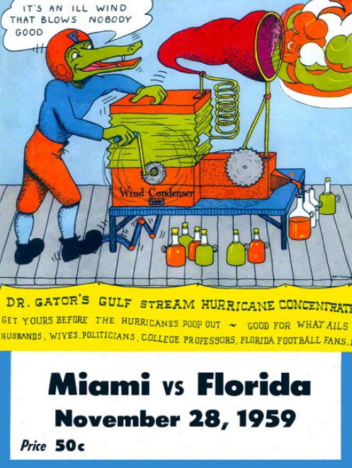 1959 Florida Vs. Miami 22 X 30 Cabvas Historic Football Print