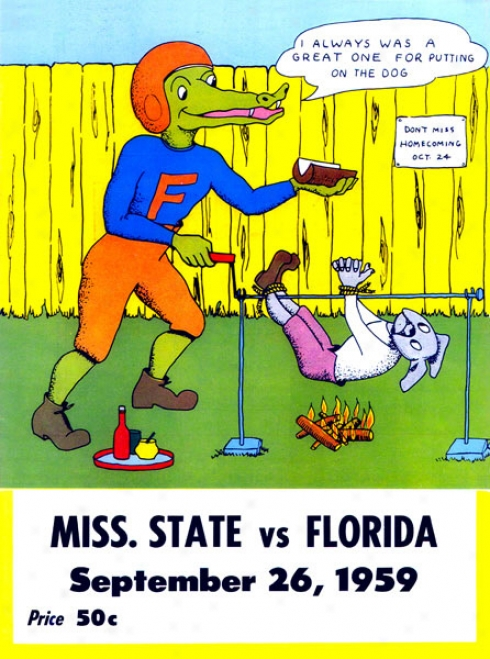 1959 Florida Vs. Mississippi State 36 X 48 Canvas Historic Football Print