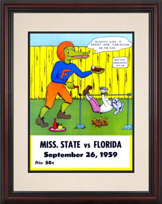 1959 Florida Vs. Mississippi State 8.5 X 11 Framed Historic Footbzll Print