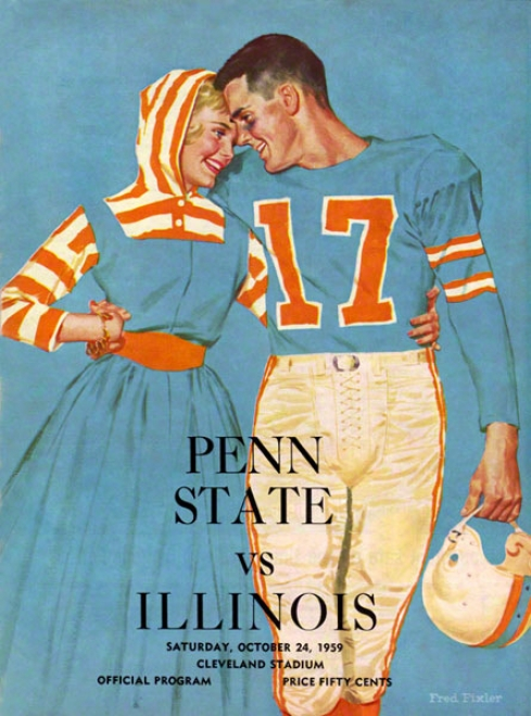 1959 Illinois Fighting Illini Vs Penn State Nittany Lions 22 X 30 Canvas Historic Football Poster