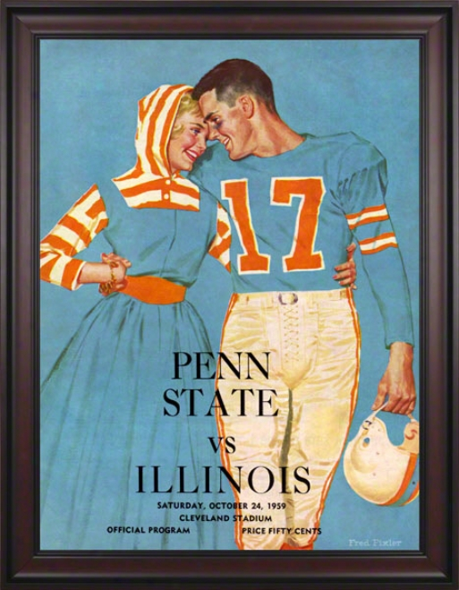 1959 Illinois Fighting Illini Vs Penn State Nittany Lions 36 X 48 Framed Canvas Historic Football Poster