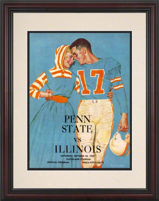 1959 Illinois Fighting Illini Vs Penn State Nittany Lions 8.5 X 11 Framed Historic Football Poster