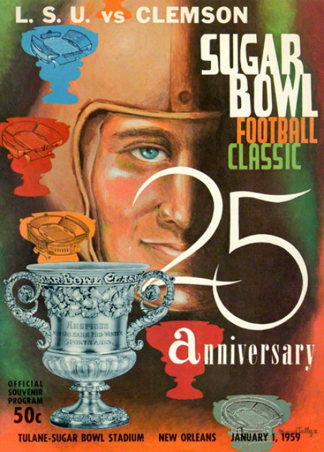 1959 Lsu Vs. Clemson 36 X 48 Canvas Historic Football Print
