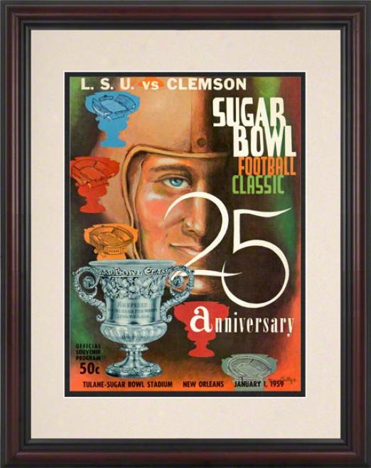 1959 Lsu Vs. Clemson 8.5 X 11 Framed Historic Football Print
