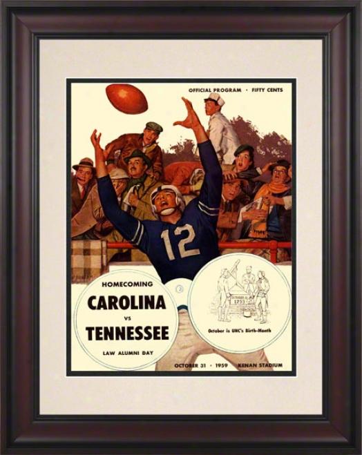 1959 North Carolina Vs. Tennessee 10.5x14 Framed Historkc Football Print