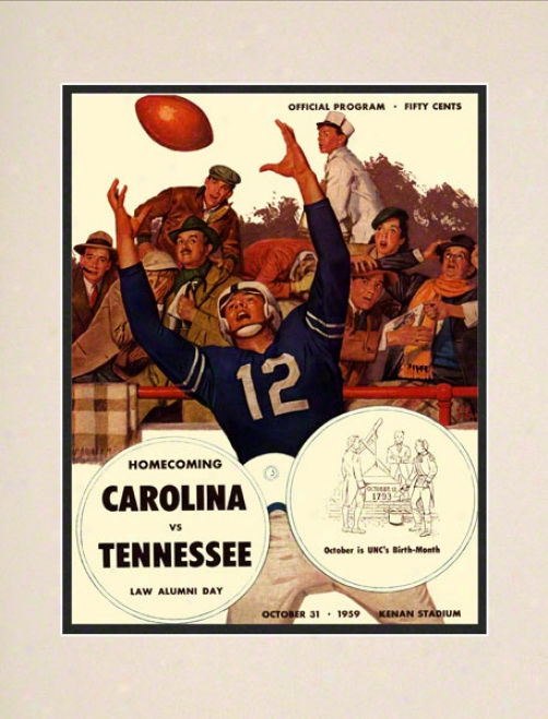 1959 North Carolina Vs. Tennessee 10.5x14 Matted Historic Football Print