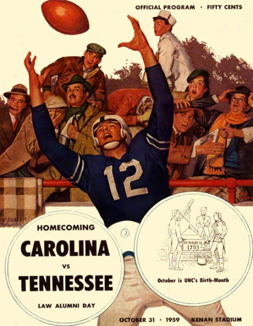 1959 North Carolina Vs. Tennessee 36 X 48 Canvas Historic Football Print