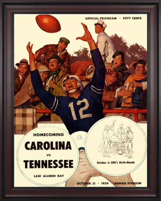 1959 North Carolina Vs. Tennessee 36 X 48 Framed Canvas Historic Football Print