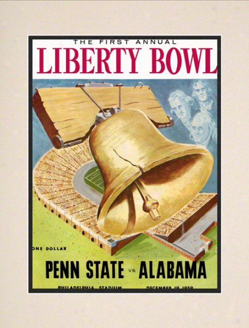 1959 Penn State Nittany Lions Vs Alabama Crimson Tide 10 1/2 X 14 Matted Historic Football Poster