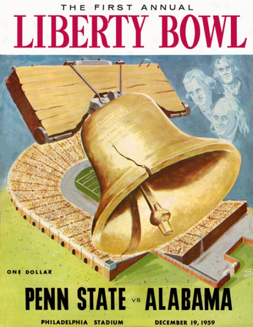 1959 Penn State Nittany Lions Vs Alabama Crimson Tide 22 X 30 Canvas Historic Football Poster