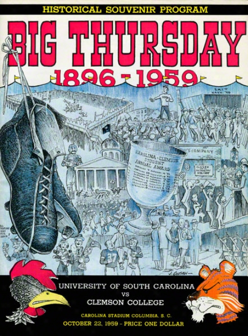 1959 South Carolina Vs. Clemson 22 X 30 Canvas Historic Football Print