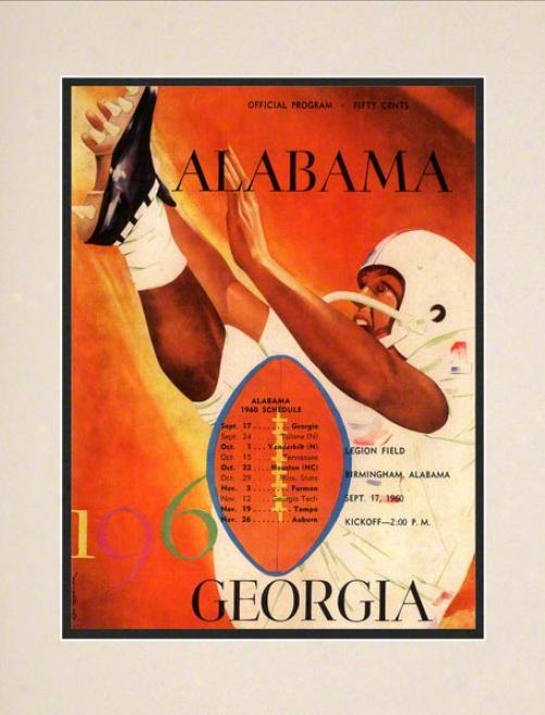 1960 Alabama Vs. Georgia 10.5x14 Mat5ed Historic Football Print