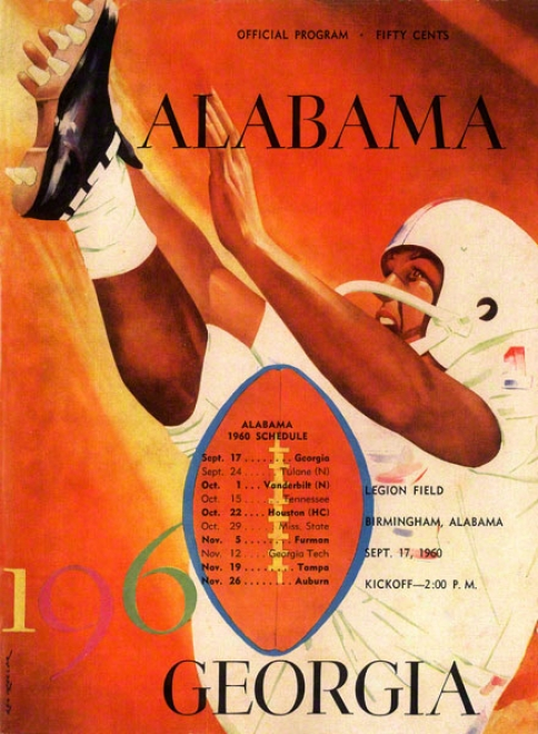 1960 Alabama Vs. Georgia 22 X 30 Canvas Historic Football Print