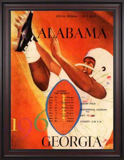 1960 Alabama Vs. Georgia 36 X 48 Framed Canvas Historic Football Print